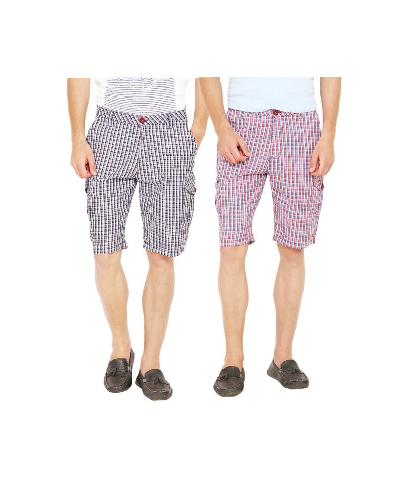 Wajbee Multicolour Cotton Shorts Pack Of 2