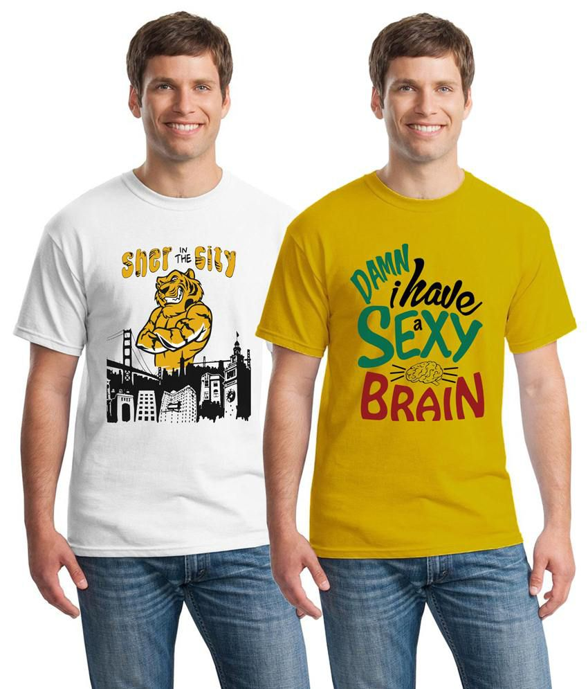 Inkvink Clothing Stunning Pack of 2 Yellow & White Half Sleeve T Shirts for Men