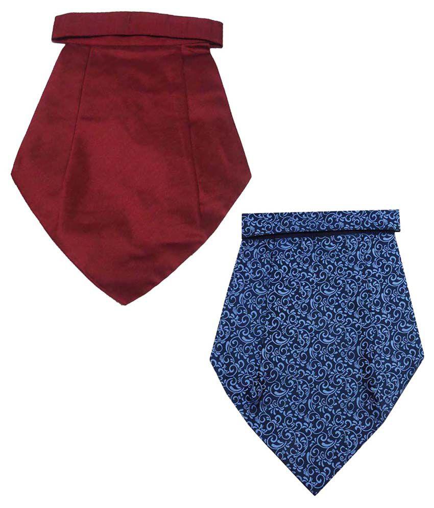 Leonardi Admirable Pack of 2 Blue & Maroon Cravats for Men