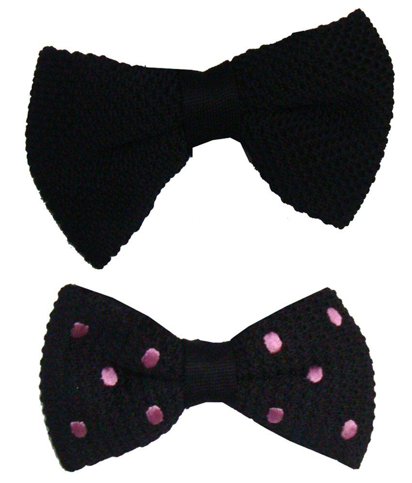 Leonardi Voguish Pack of 2 Black & Purple Plain Casual Bow Ties for Men
