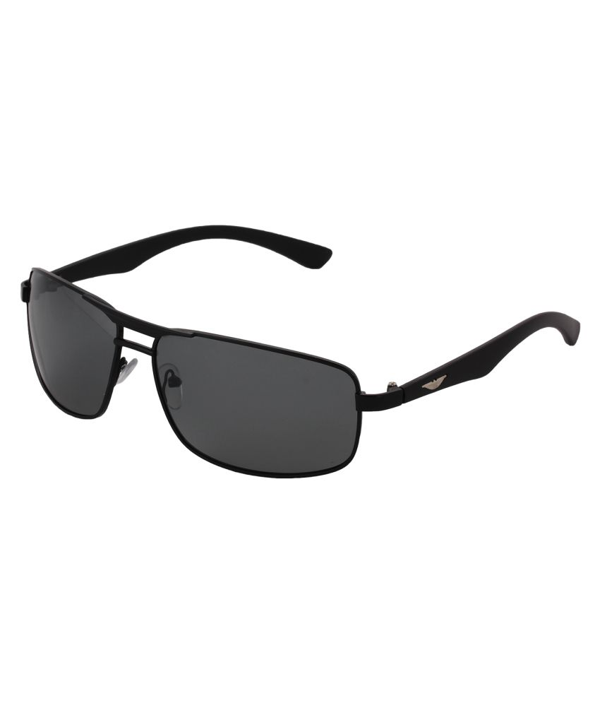 Pede Milan Black Large Unisex Square Sunglasses