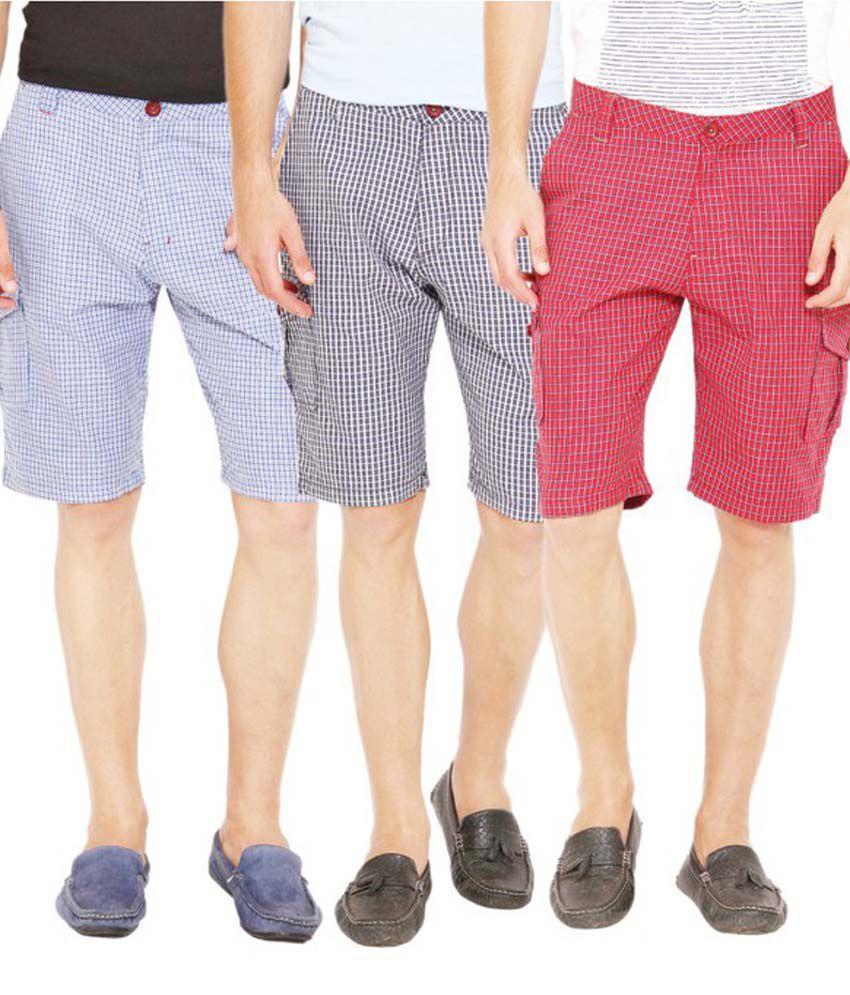 Wajbee Cotton Cargo Shorts - Set Of 3