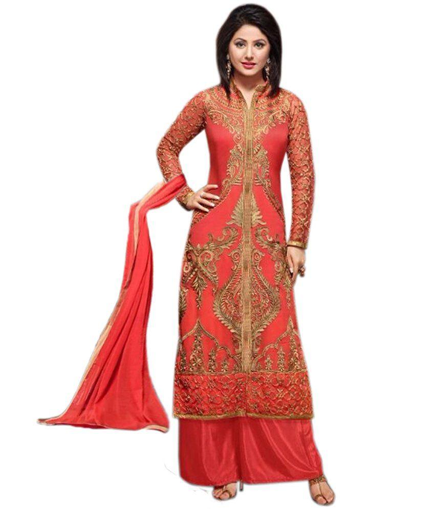 Aiza Collection Pink Silk Dress Material