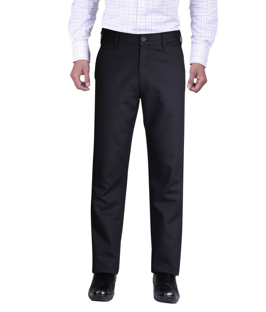 K Sons Black Cotton Blend Formal Men Trouser