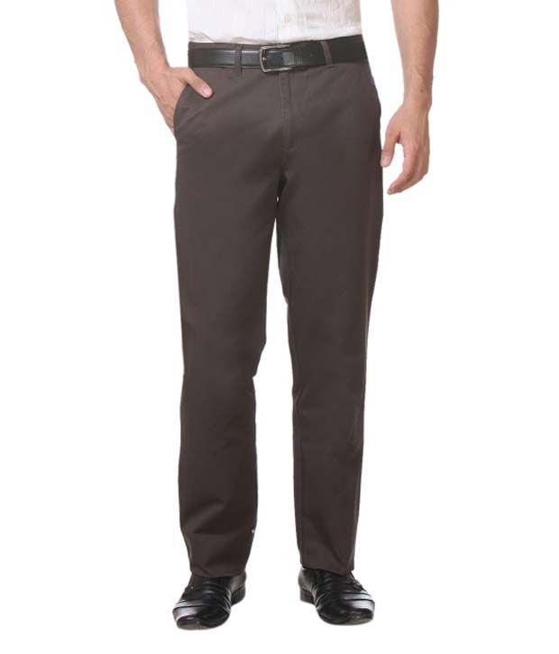 K Sons Brown Cotton Blend Formal Men Trouser