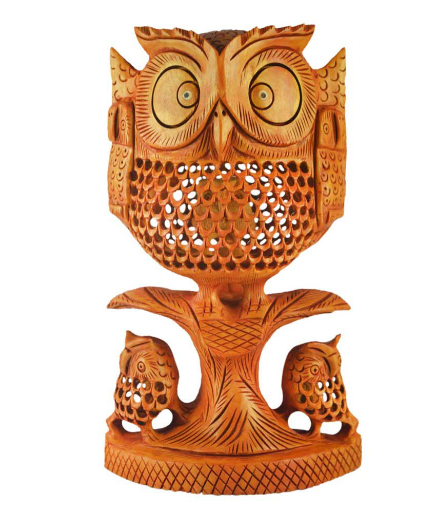 Kraft Mart Kraft Mart Brown Wood Handcarved Jali Owl Showpieces