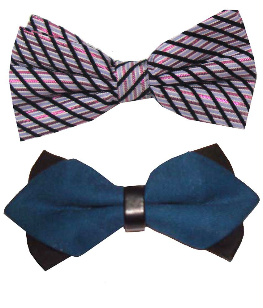 Leonardi Enticing Pack of 2 Pink & Blue Casual Bow Ties for Men