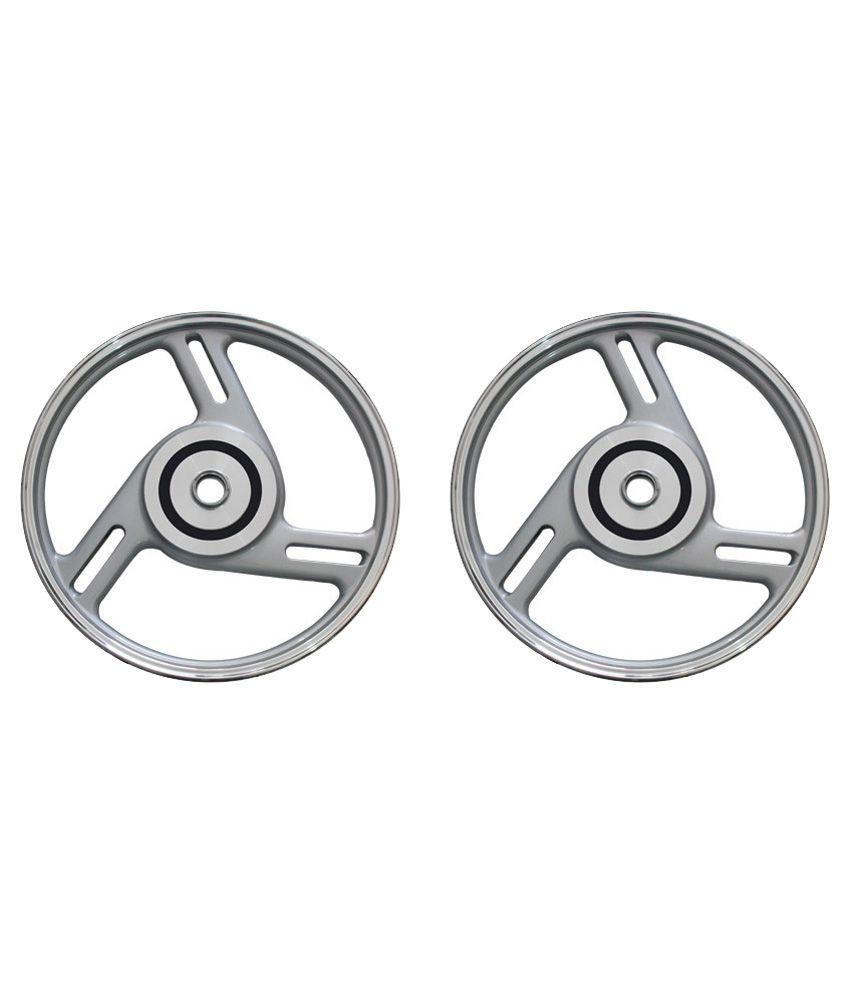 Speedwav 3 Round Open Bike Alloy Wheel Silver Set Of 2
