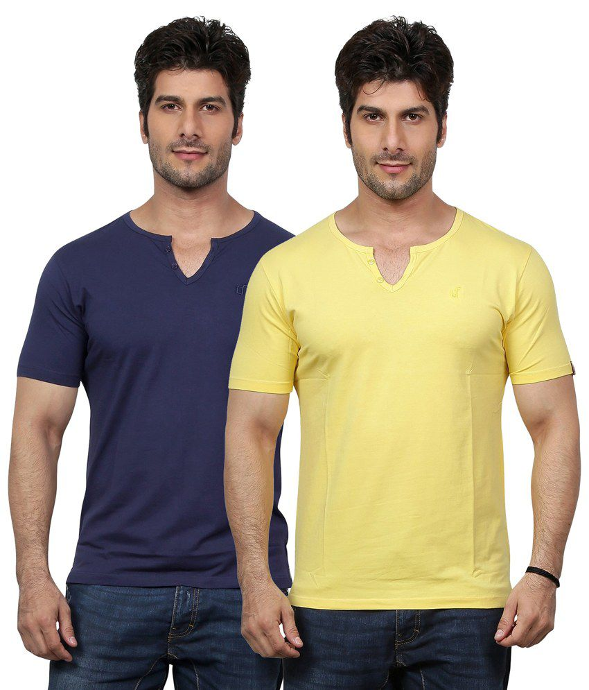 Unfold Cotton V-Neck T-Shirt - Pack of 2