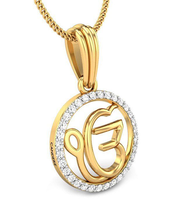 Candere ek onkar yellow gold 14k diamond pendant buy candere ek candere ek onkar yellow gold 14k diamond pendant aloadofball Images