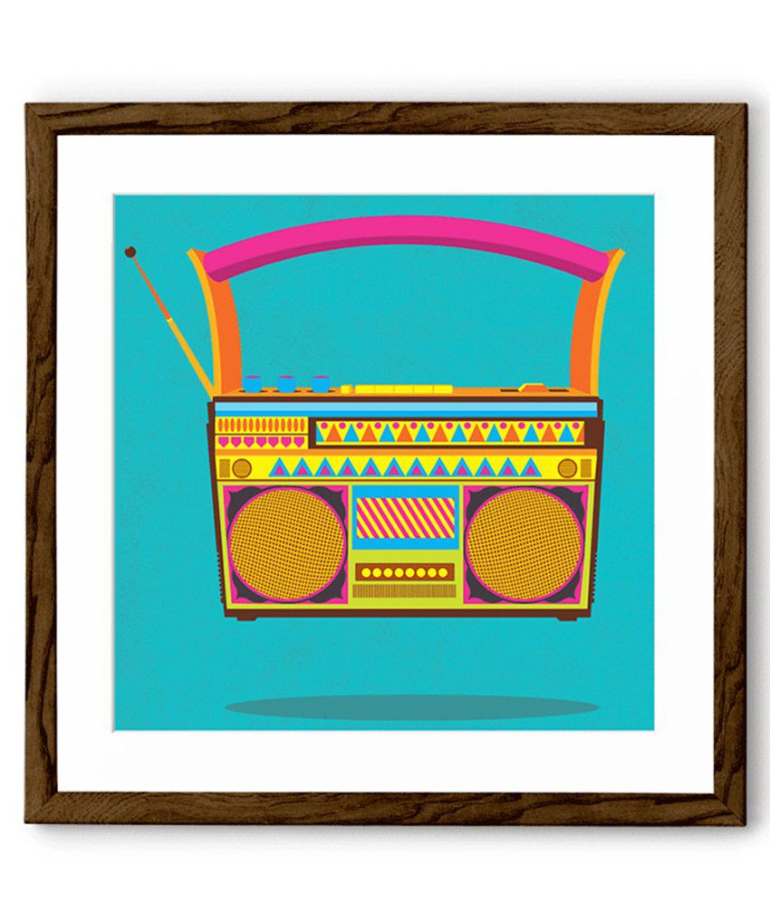 Chumbak Blue And Yellow Radio Art Print With Brown Frame Small 20 x 20 Inches