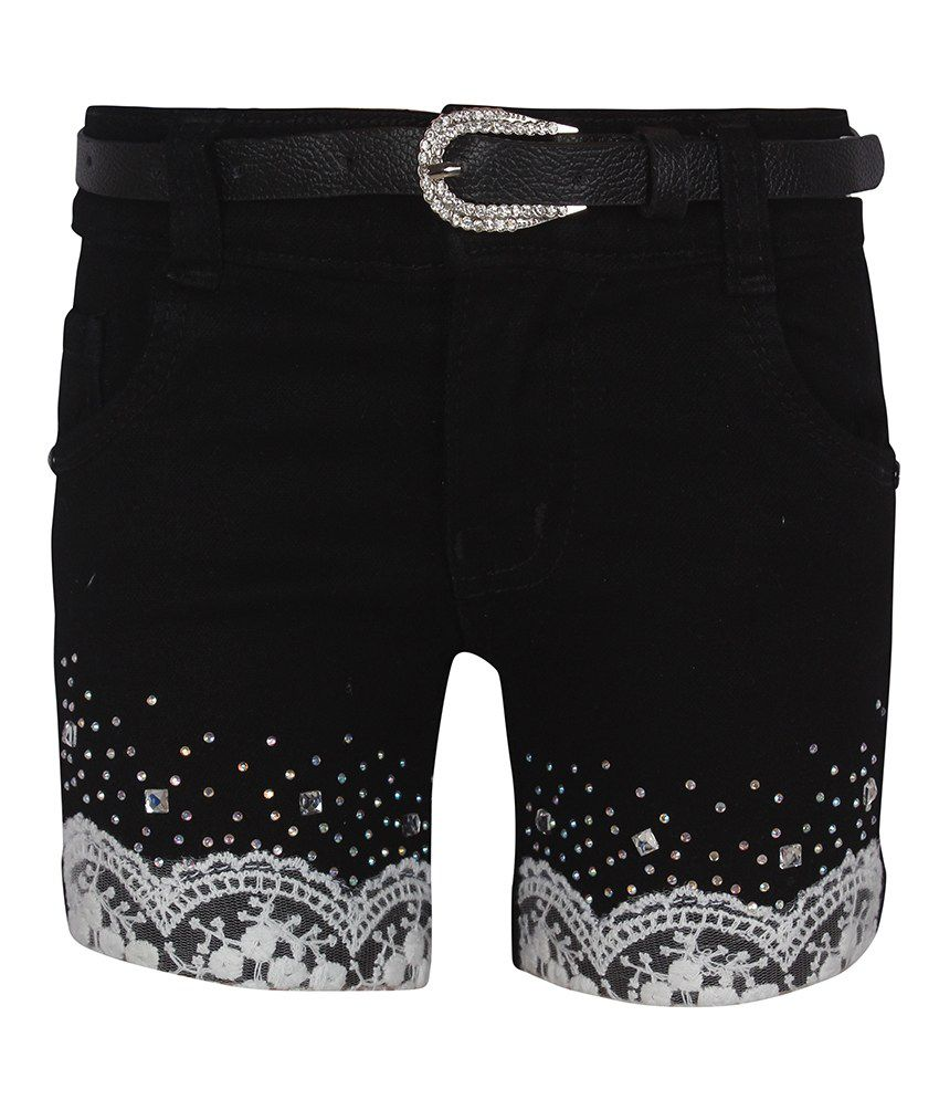Jazzup Black Denim Patch Work Shorts