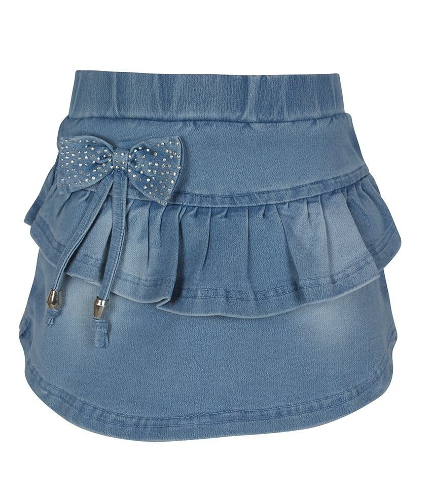 Jazzup Patch Work Blue Denim Skirt