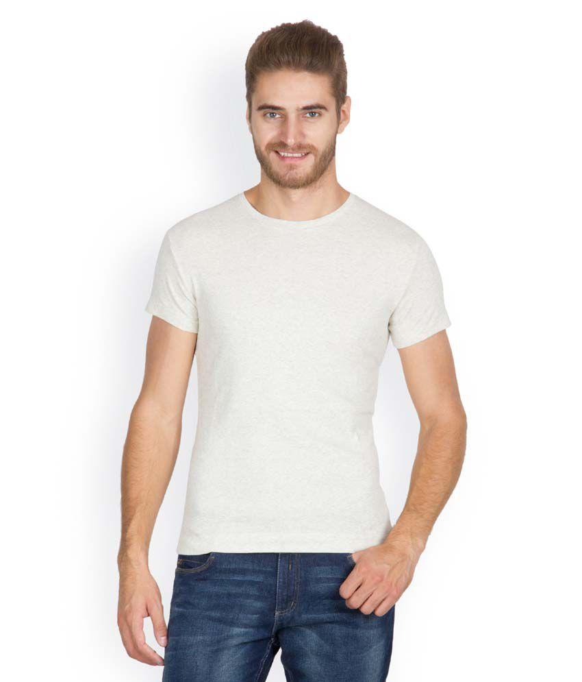 VX-Brand White Cotton Round Neck Half Sleeves T-Shirt