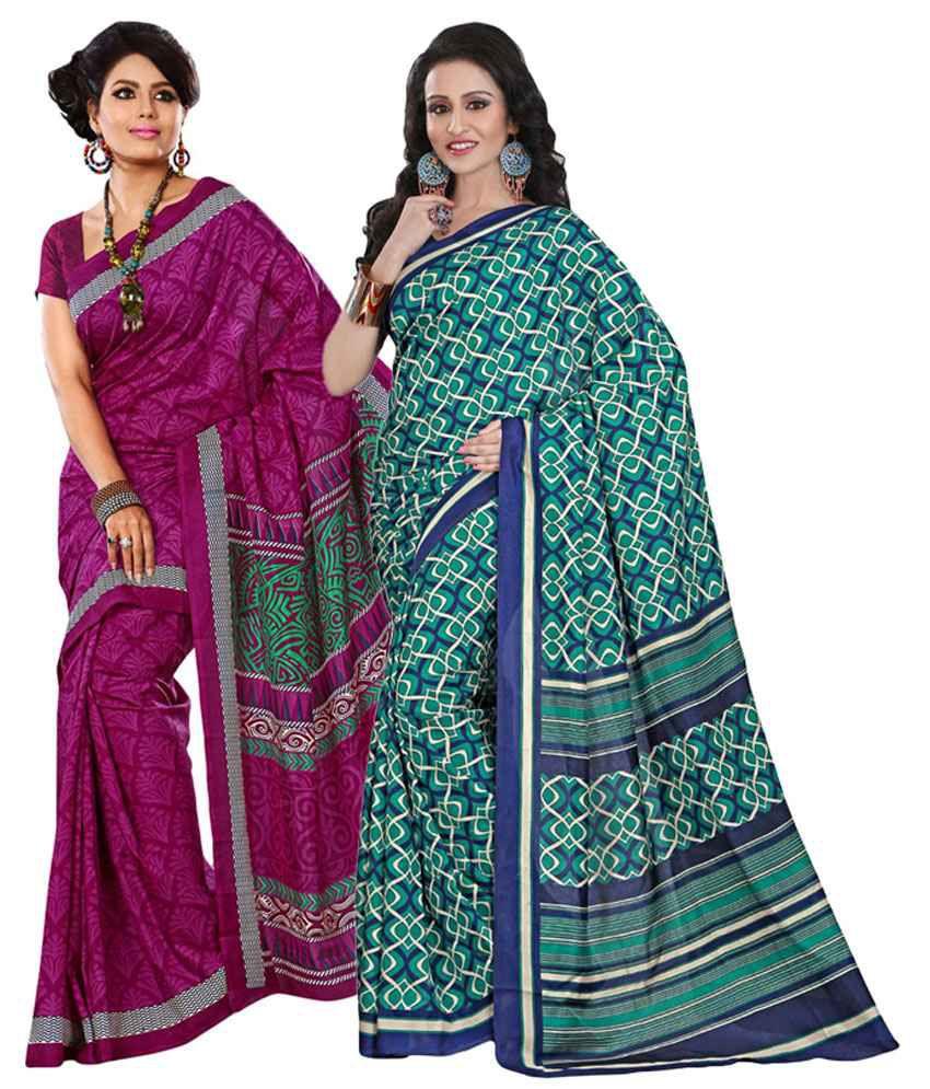 Yuvanika Green & Pink Cotton Pack of 2