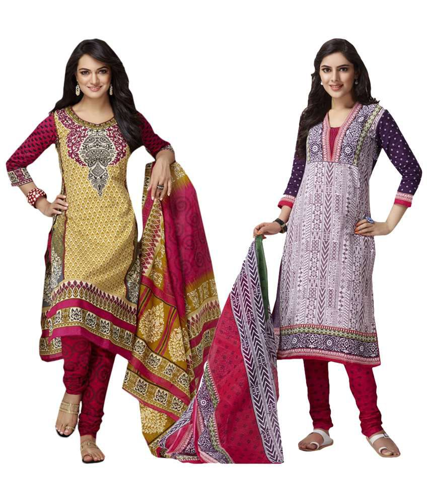 Baalar Purple Cotton Unstitched Dress Material