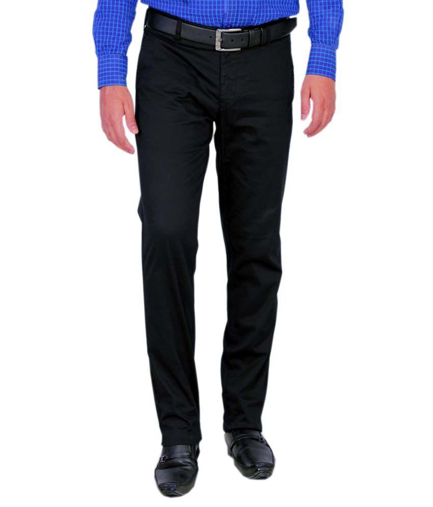 Integration Black Cotton Slim Flat Casuals Trouser