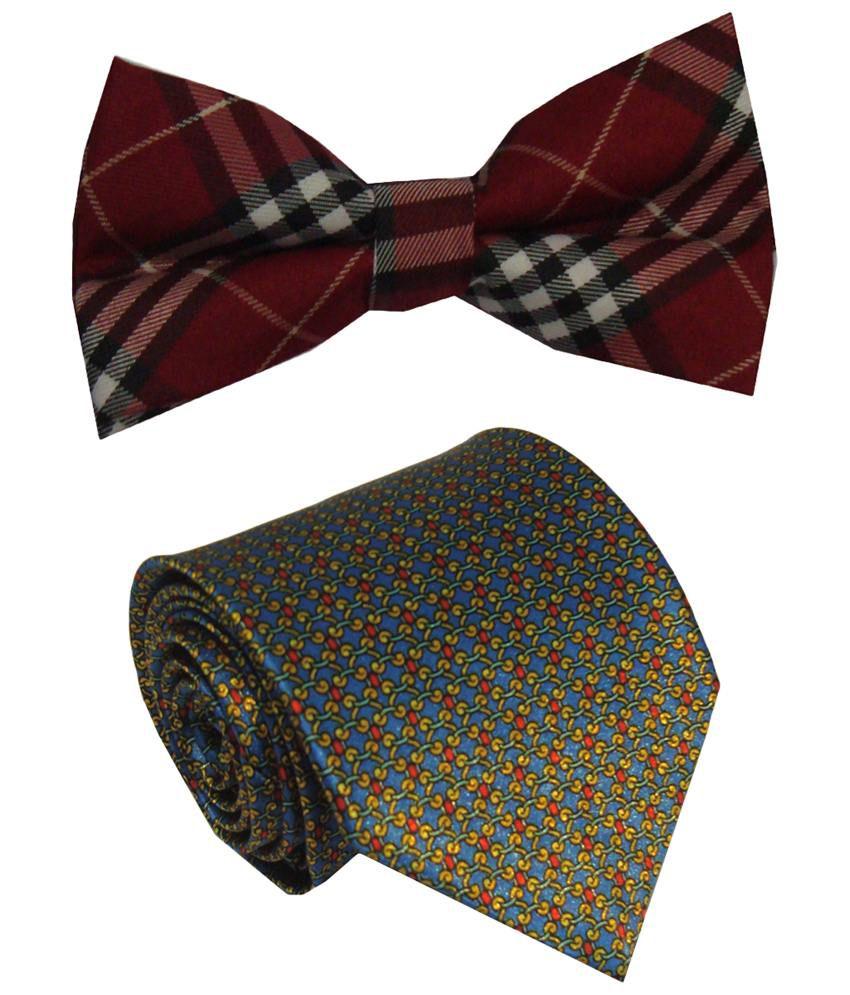 Leonardi Brilliant Set of Blue Broad Necktie & Red Bow Tie for Men