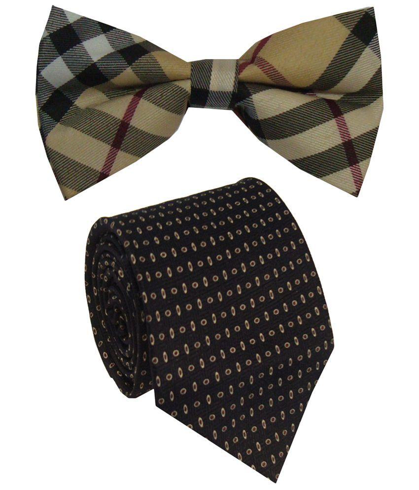 Leonardi Excellent Set of Beige Broad Necktie & Bow Tie for Men