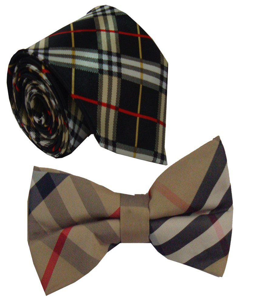 Leonardi Glamorous Set of Beige Broad Necktie & Bow Tie for Men