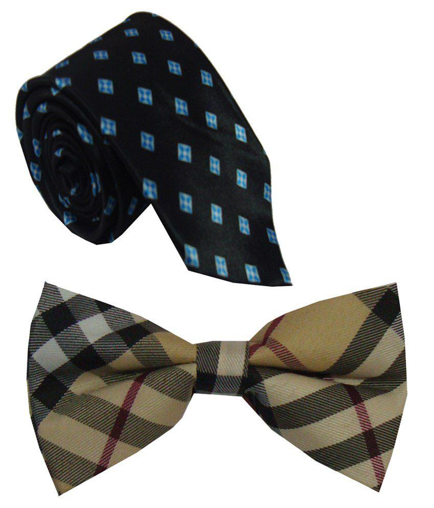 Leonardi Miraculous Look Set of Blue Broad Necktie & Beige Bow Tie for Men