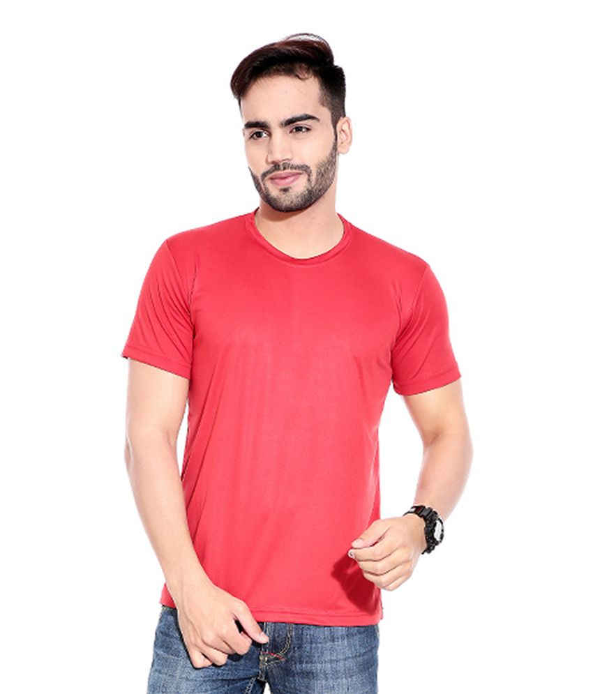 Profiler Red Polyester Round Neck Solid T-Shirts (Pack of 7)