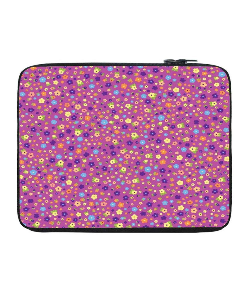Snoogg Pink and Purple Laptop Sleeve