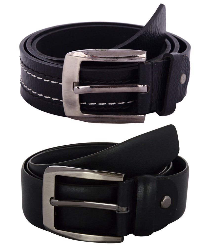 Zohran Fashionable Pack of 2 Black Belts for Men