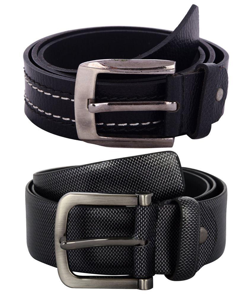 Zohran Stunning Pack of 2 Black Belts for Men