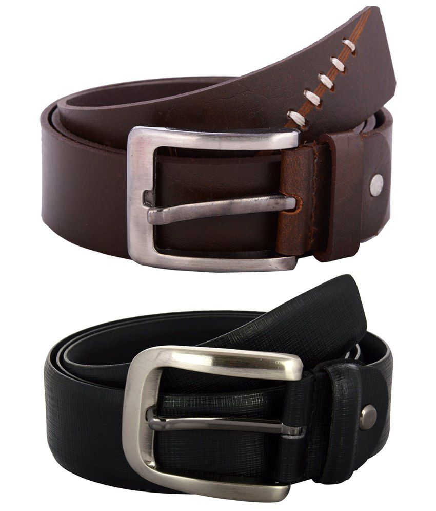 Zohran Voguish Pack of 2 Black & Brown Belts for Men