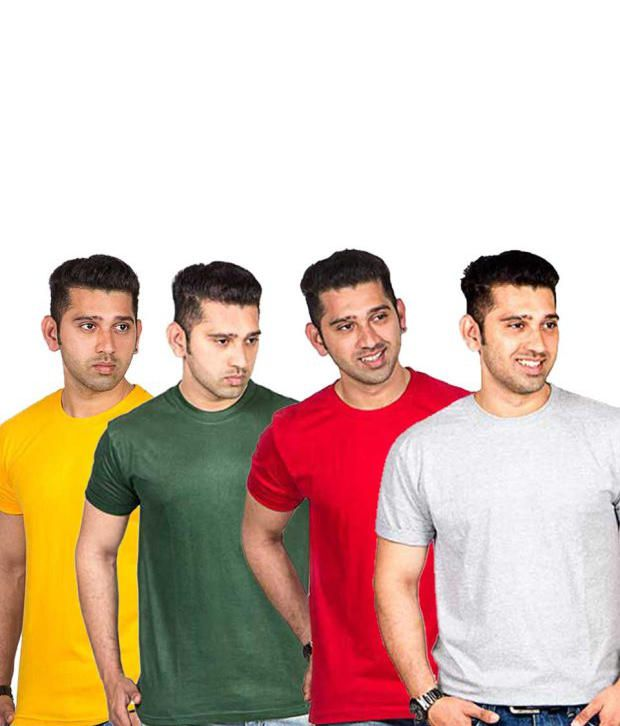 Now Combo of Multicoloured Cotton T-shirts (Pack of 4)