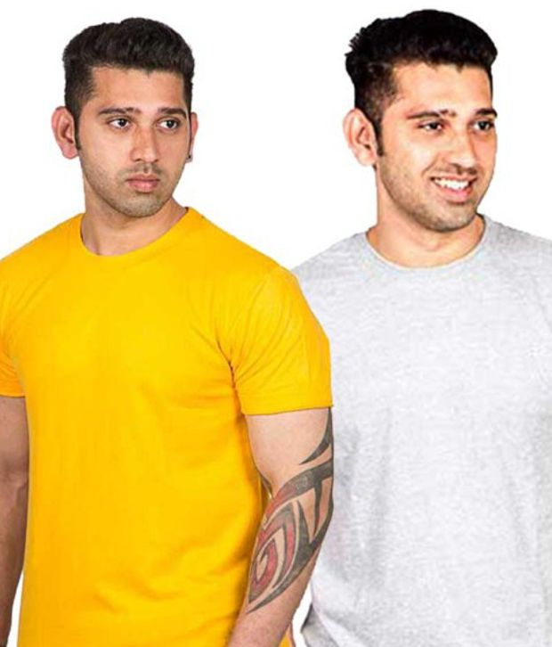 Now Combo of Yellow And Gray Cotton T-shirts (Pack of 2)