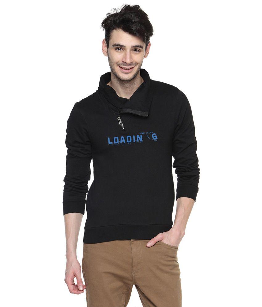 Campus Sutra Black Cotton High Neck Sweatshirt For Men
