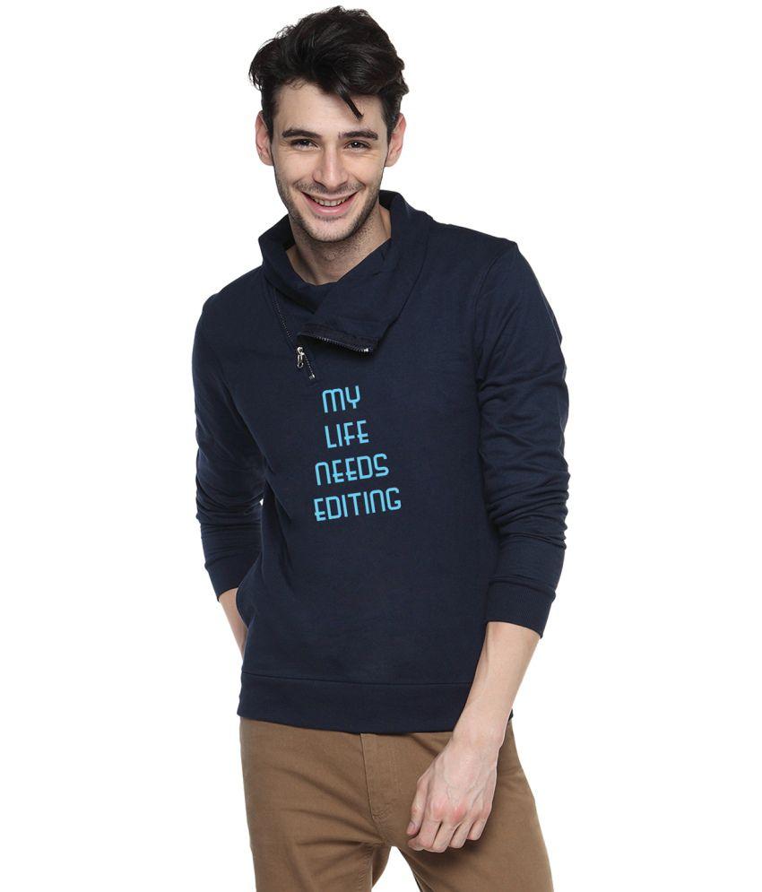 Campus Sutra Blue Cotton High Neck Sweatshirt For Men