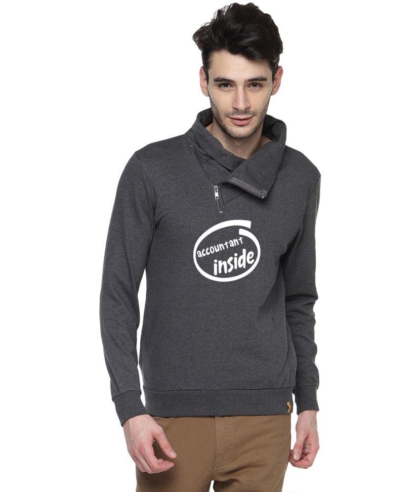Campus Sutra Gray Cotton High Neck Sweatshirt For Men