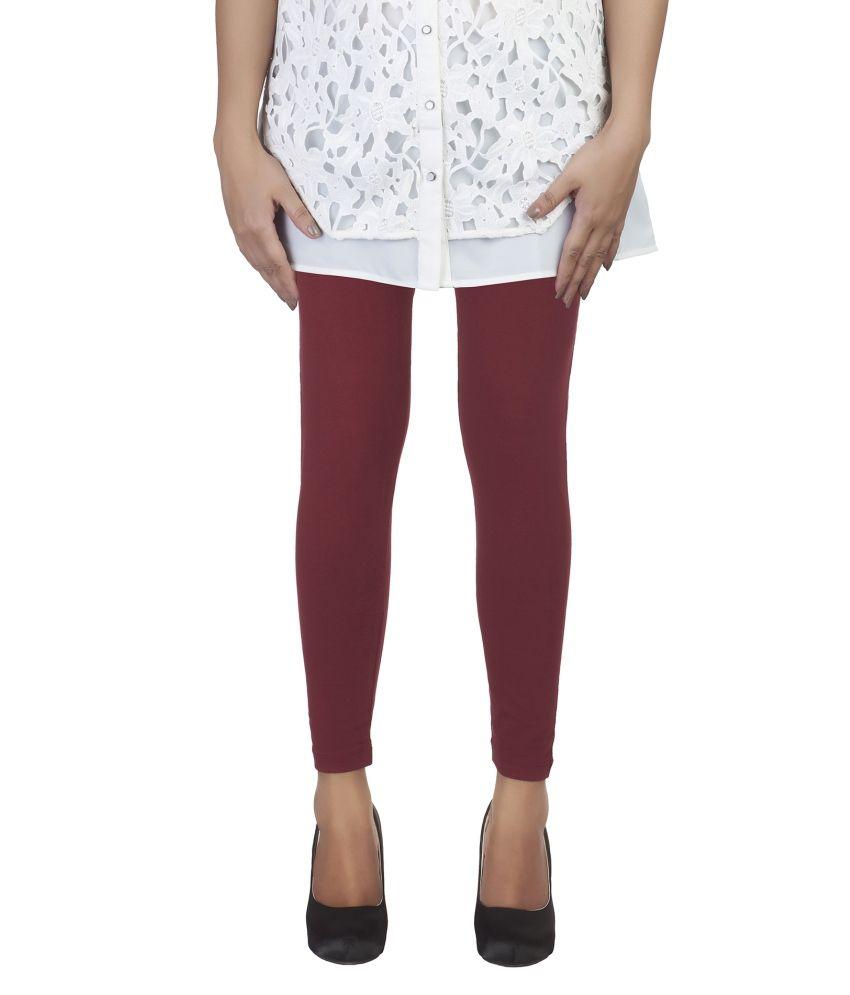 Soie Maroon Cotton Leggings