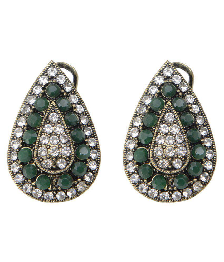 Taj Pearl Green Designer Stud Earrings