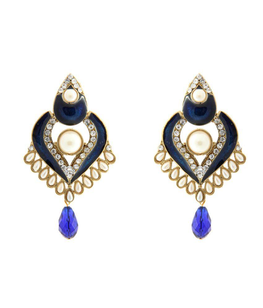 Tradisyon Bollywood Inspired Blue Dangler Drop Earring By Kaizer