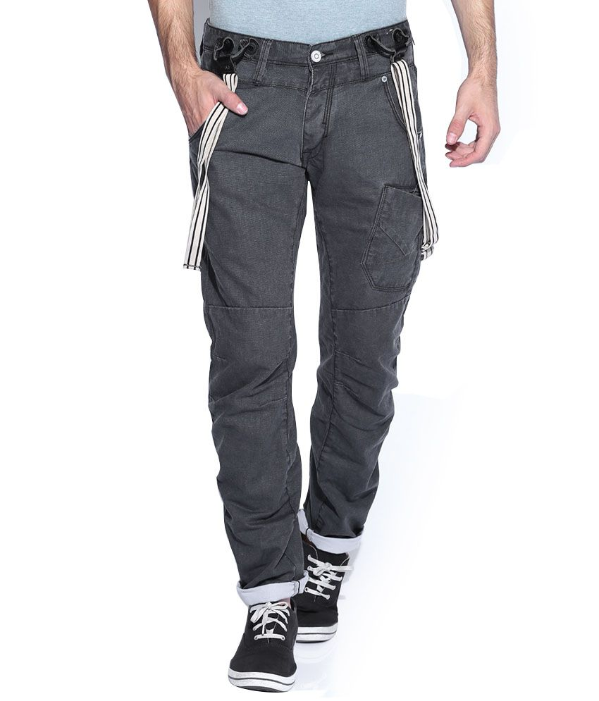 883 Police Black Cotton Slim Chinos Casuals Trousers
