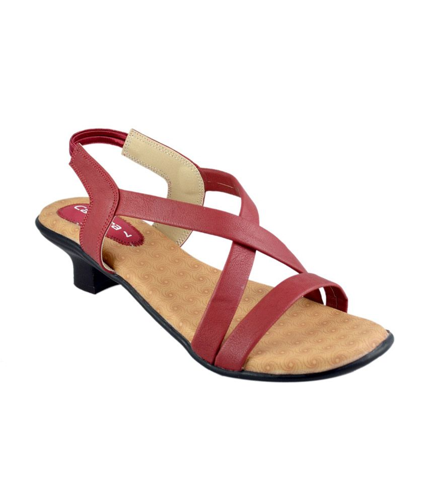Canvera Red Medium Heel Sandal