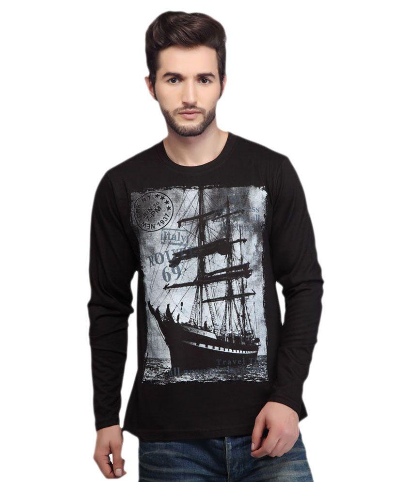 Cuppacinno Black Cotton Round Neck Printed T-Shirt