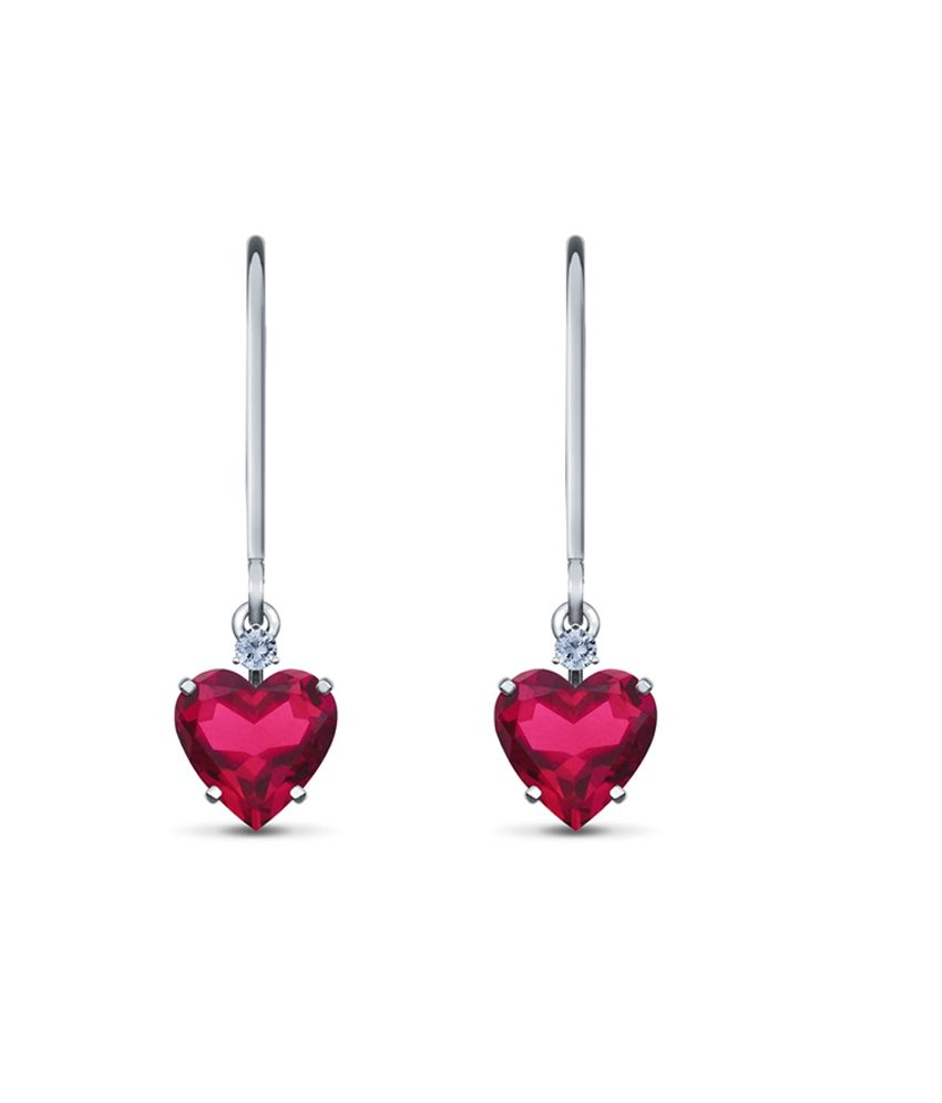 Kataria Jewellers Real Certified Diamond Semi-Precious Ruby 92.5 Sterling Silver Heart Earrings For Valentine's Day