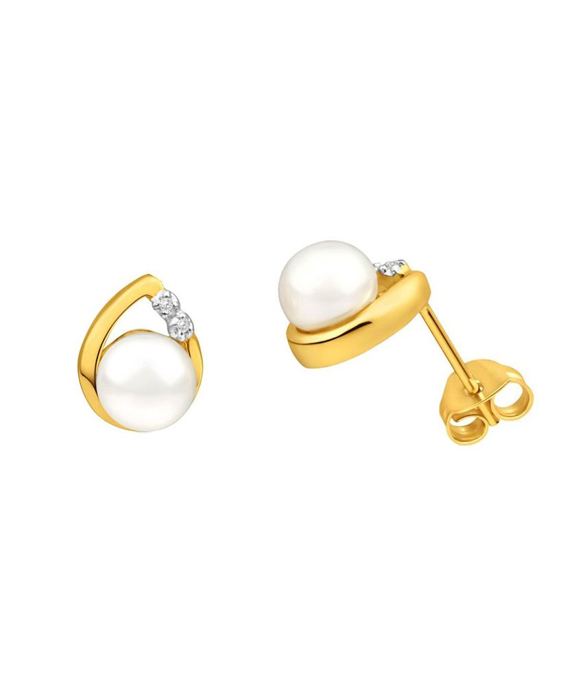 Kataria Jewellers Real Certified Diamond And Pearl 92.5 Sterling Silver Earrings