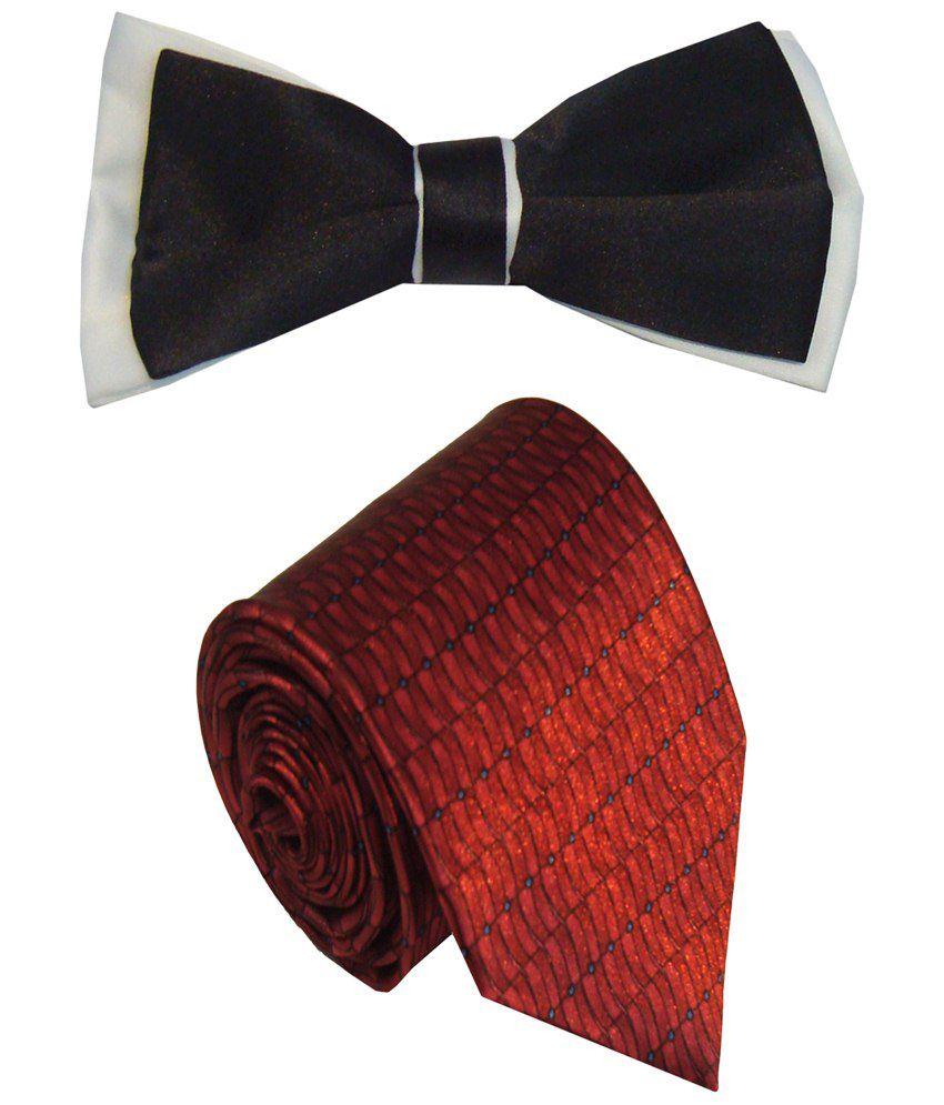 Leonardi Incredible Set of Red Broad Necktie & Black Bow Tie for Men