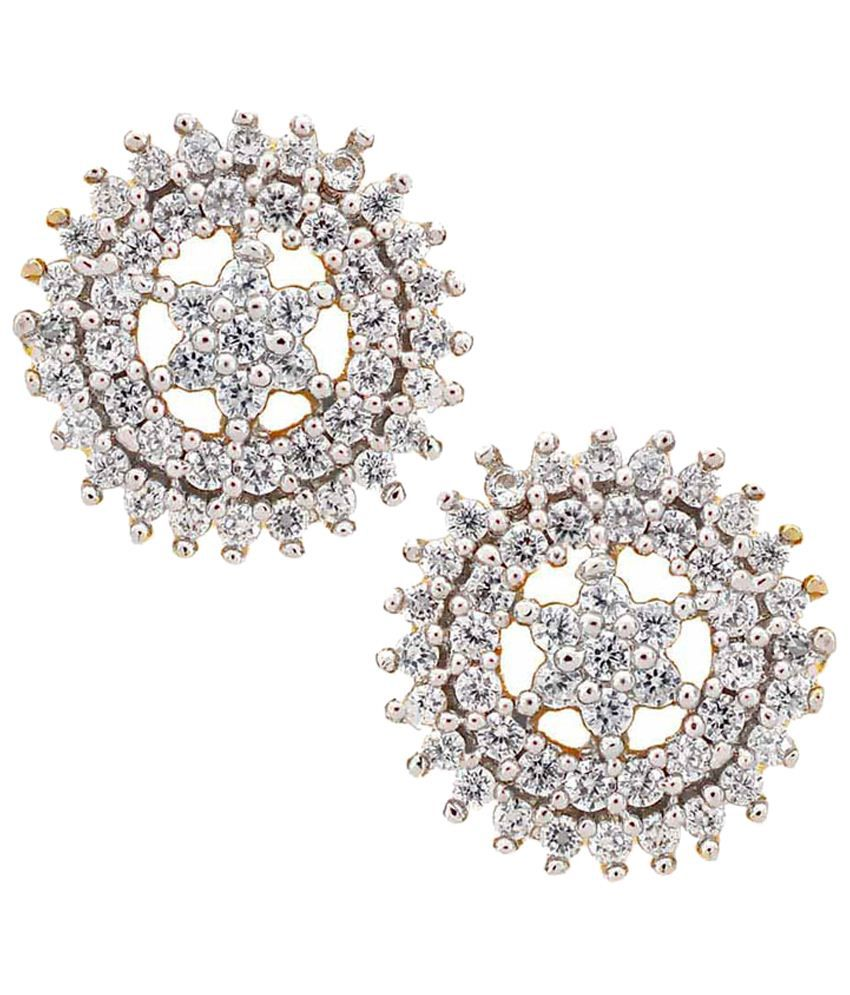 Maayra Nice Golden & Silver American Diamond Stud Earrings