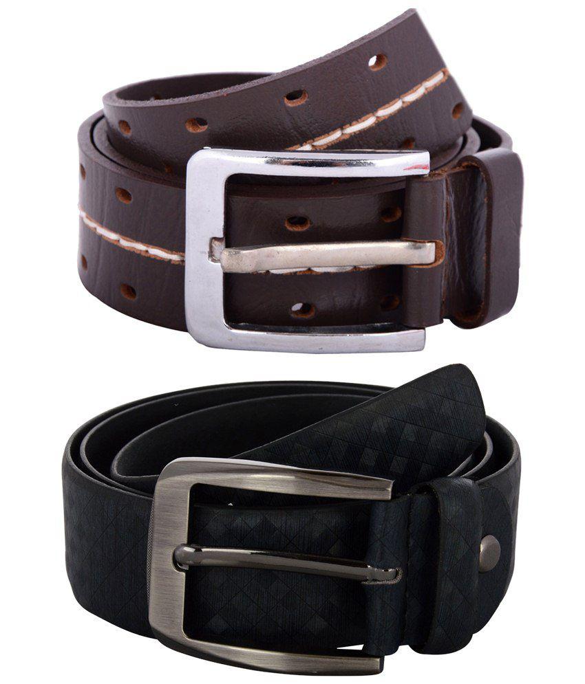 Zohran Impressive Pack of 2 Black & Brown Belts for Men