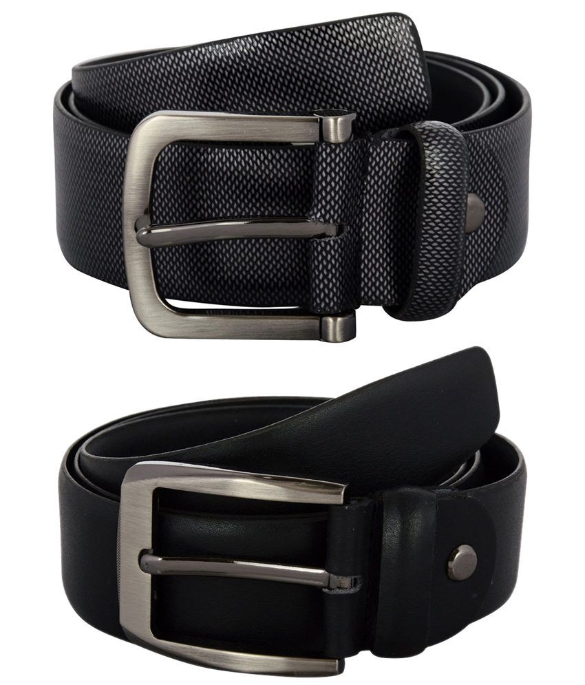 Zohran Trendy Pack of 2 Black Belts for Men