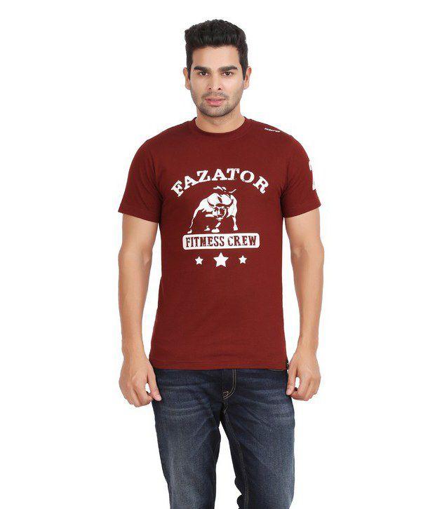 Fazator Fitness Crew Muscle Maroon T-Shirt