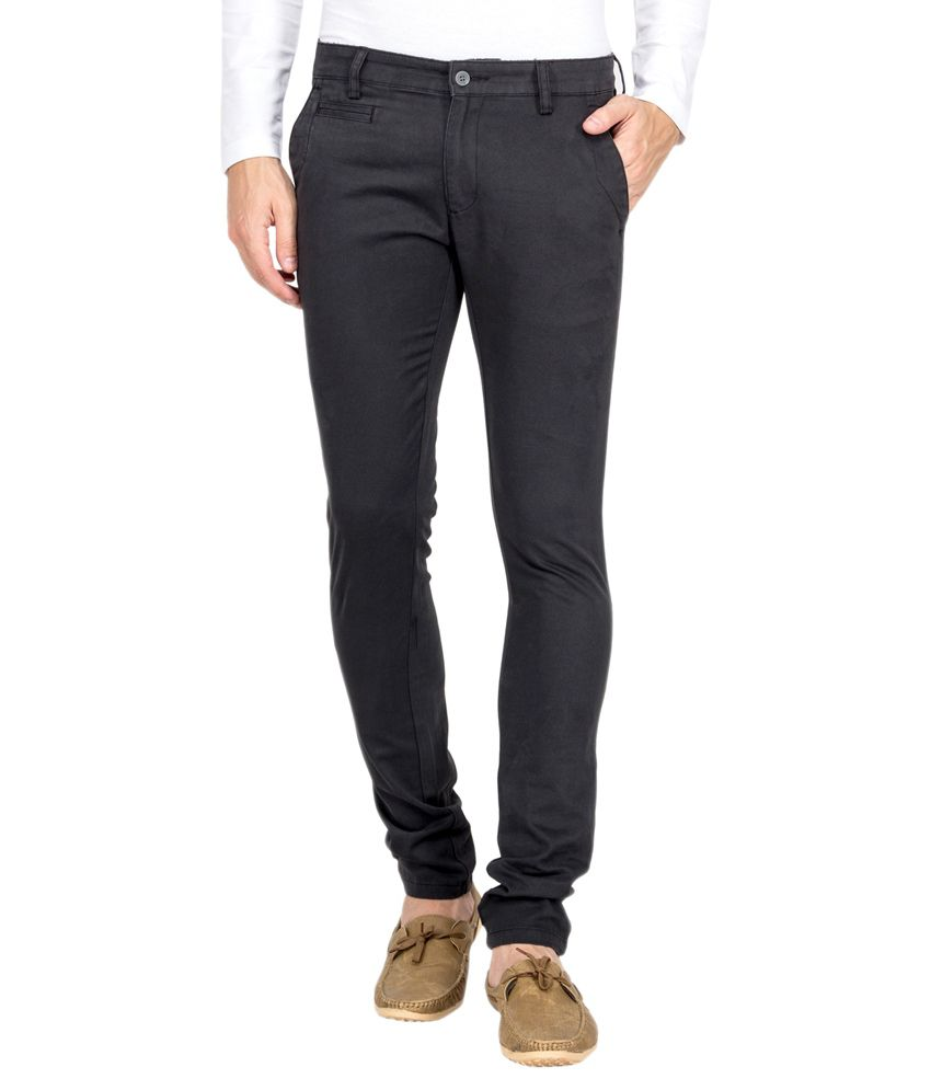 Le Bison Gray Cotton Slim Fit Chinos