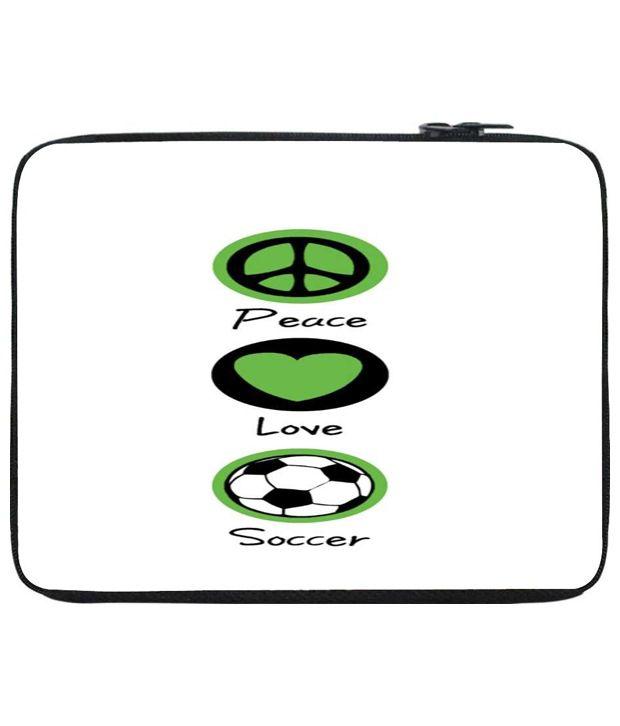 Snoog White & Green Laptop Sleeve